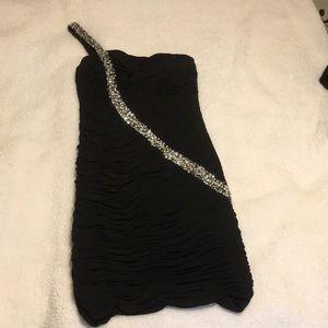 Black ruched dress